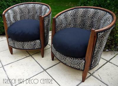 "FOLLOT French Art Deco ""Gondola"" Armchairs a pair c1925"