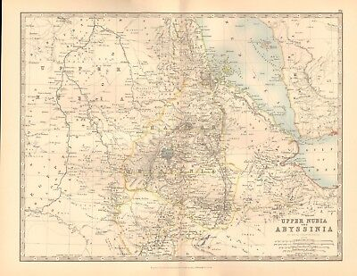 1891 Antique Map -  Upper Nubia And Abyssinia