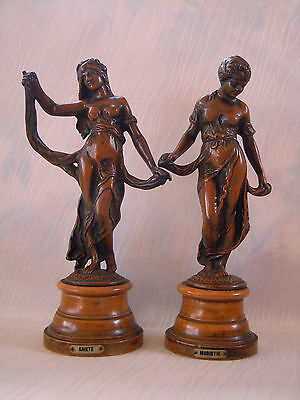 A Pair of 1800s French Spelter Figures of Gaiete and Modistie