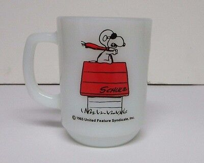 """1965 SNOOPY """"Curse You, Red Baron!"""" COLLECTOR FIRE KING MUG Coffee Cup"""