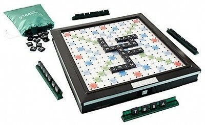 Deluxe Scrabble Game Low Profile Built-in Turntable Finished Wood-effect Framed