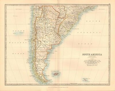 1891 Antique Map -  South America, Southern Sheet,brazil, La Plata, Falklands