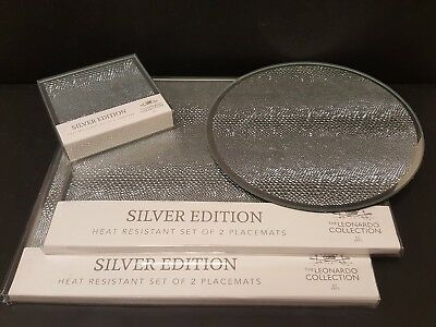 NEW SILVER mirrored glass placemats coaster set snakeskin pattern by LEONARDO