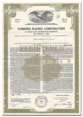 Yonkers Racing Corporation Bond Certificate (Now Runs Empire City Casino)