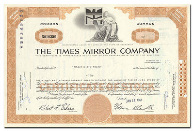 Times Mirror Company Stock Certificate (LA Times, Newsday)