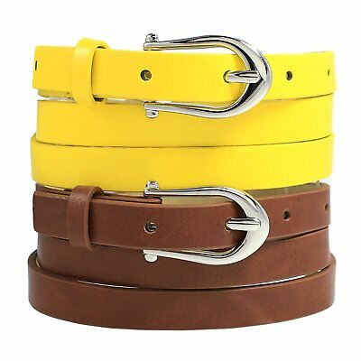 Style & Co. Patent Skinny Belt Set, Brown/Yellow