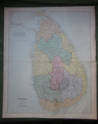 Ceylon, Edward Stanford, Antique Print, Sri Lanka