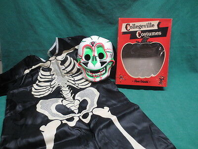 Vtg Halloween Collegeville SKELETON Costume & Mask Original Box