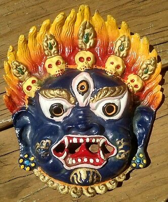 "Metal Mahakala Mask Wall Hanging Colorful Painted 6"" God Tibetan Buddhist"