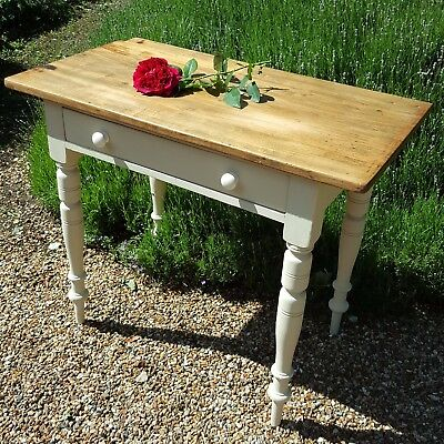 Victorian Small, Kitchen,Old Pine and Cream Painted Side Table with front drawer