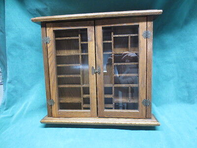 Vtg Wood Curio Cabinet Razor Display Shelf Table Top Or Wall Hung Glass Doors