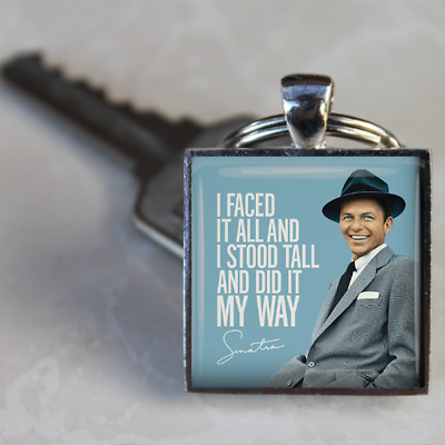 Frank Sinatra Keyring Sinatra I did it my way Keyring silver plated handmade UK