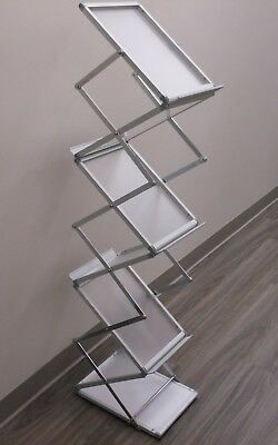 """5-Pocket Portable Literature Stand with Case, 2-Sided, Adjustable Height, 10"""""""