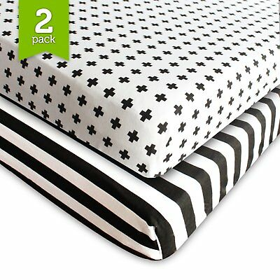 Crib Sheet Fitted Jersey Cotton 2 Pack Black, White, Stripes, Cross by Ziggy