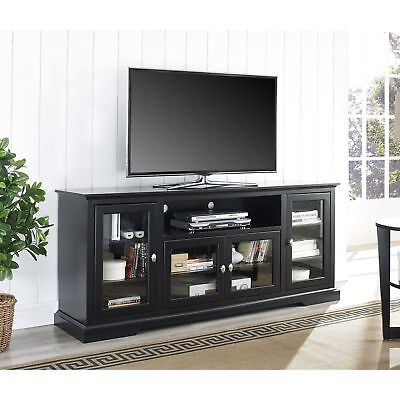 We Furniture 70 Highboy Style Wood Tv Stand Console Black
