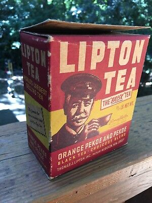 Old VINTAGE Lipton Tea 1/2 LB from the 40's / 50's empty box