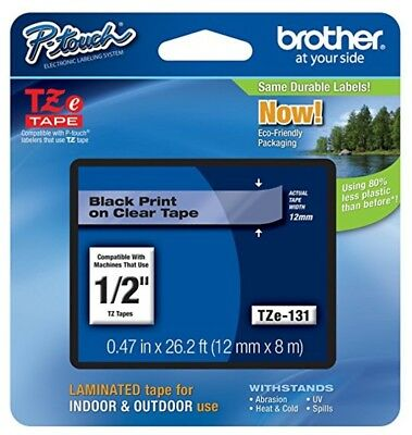 Brother International P-Touch Black on Clear Standard Laminated Tape (TZe131)