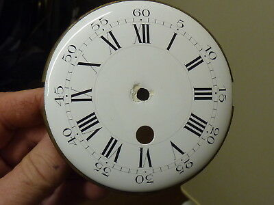 Antique French Clock Convex Enamel Dial & Falseplate (Z2)