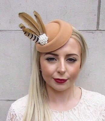 Tan Brown Cream Pheasant Feather Pillbox Hat Hair Fascinator Races Vintage 3858