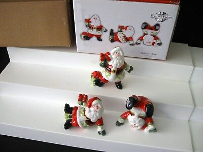 NEW Fitz and Floyd Santa Claus Holiday Cheer Tumblers Christmas Figurines 2008