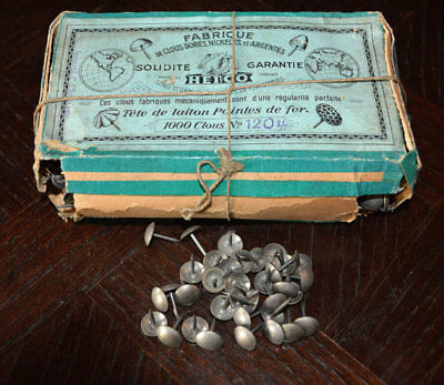 One Vintage Lot of 10 French Silver Finish Upholstery Nails Tacks Nailheads
