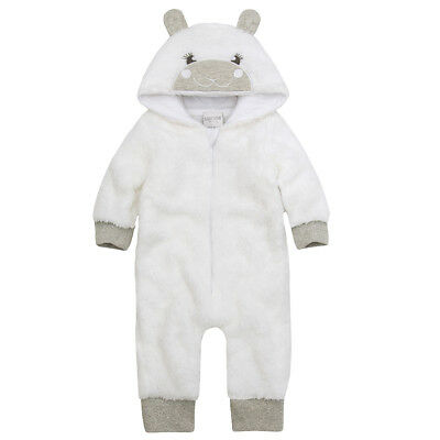 Baby Girls White Lamb Snuggle Fleece All in One Hooded Soft Cute XMAS Gift 0-12