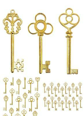 Lot Of 30 Vintage Style Skeleton Furniture Cabinet Old Lock Keys Antique Gold