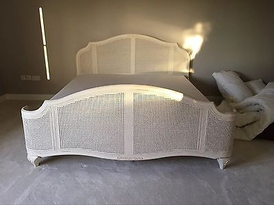 John Lewis Super King Bed Rose Mist Rattan Bed Frame & Slats No Mattress £1250