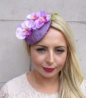 Lilac Mauve Purple Orchid Flower Fascinator Hat Races Hair Clip Vintage 3861