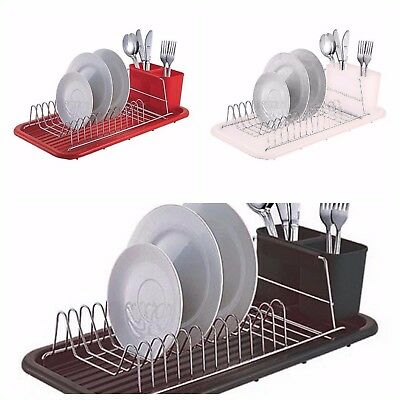 Dish Drainer - Dish Rack With Drip Tray And  Cutlery Holder