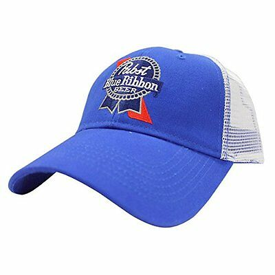New White & Blue Embroidered Pbr Trucker Hat Pabst Blue Ribbon Beer Cap Snapback