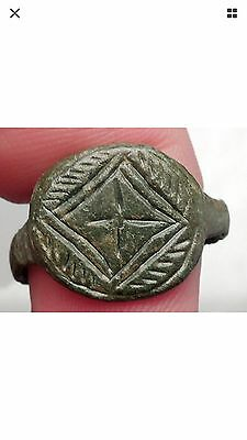 Ancient Medieval Byzantine Era Christian Cross Ring Artifact  1200-1400 A.D