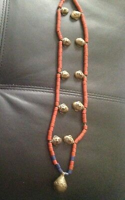 Rare!!! Nepal!! Sherpa Coral Necklace With Bronze Skulls And Bell.