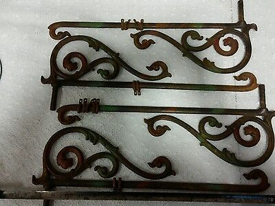 Set of 4 ANTIQUE Swing Arm curtain hangers other uses garden flag etc Victorian