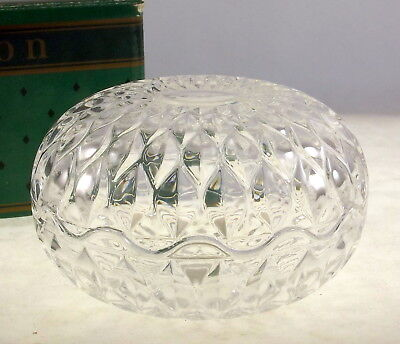 Vintage Avon French crystal round trinket box lidded bowl gift to reps
