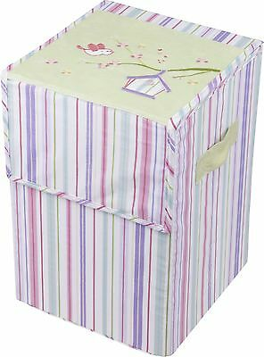 New Baby Nursery Setting Clothes Hamper pink birdhouse