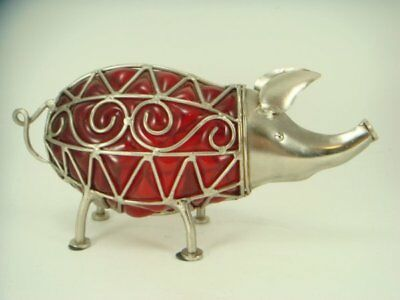 Large Red Glass & Metal Pig Figurine Gorgeous Piggy