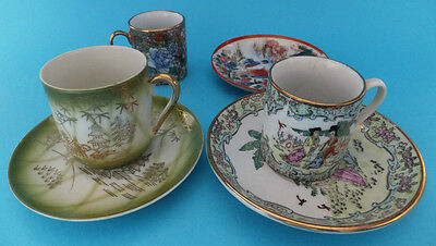 Hand Painted Vintage Chinese Cups Saucers 2 Complete sets And 1 Cup, 1 Saucer