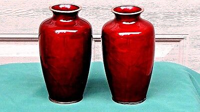 Pair Antique Japanese Sato Pigeon Blood Cloisonne Vases W/silver Edges,bamboo