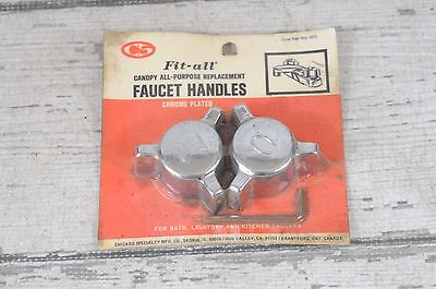 NOS Vintage Chrome Water Faucet Handles Knobs MidCentury Hot Cold Water Handles