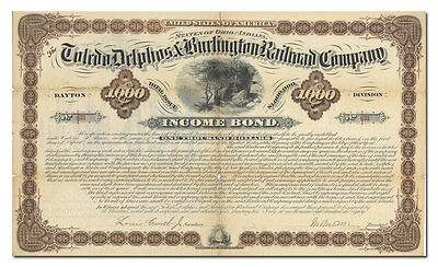 Toledo, Delphos and Burlington Railroad Company Bond Certificate
