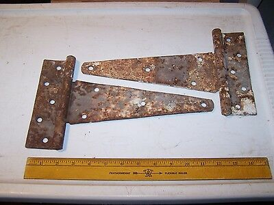 2 Large Rusty STRAP HINGES - Barn Gate Shed Farm