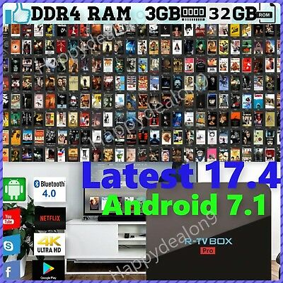 2017 R-TV PRO 3GB DDR4 & 32GB Android 7.1 Smart TV Box KD 17.4 Amlogic S912