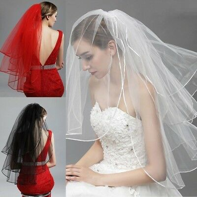 US White/Ivory/Red/ Black 3T Wedding Bride Veil Fingertip Bridal With Comb