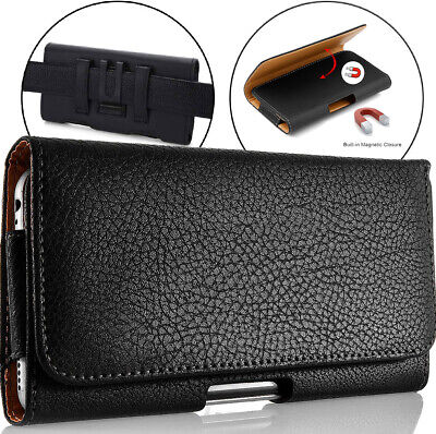 For Samsung Galaxy Note 9 8 S7 Edge S8/S9 PLUS Leather Pouch Holster Case Black
