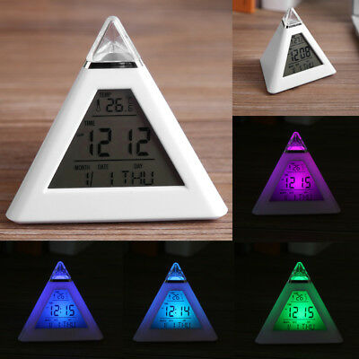 LED Color Changing Digital Alarm Clock Thermometer Night Light Table Clocks SG