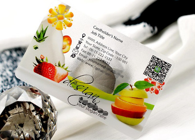 Ice Cream Plastic Business Cards Template - Texture Frosted Transparent W White