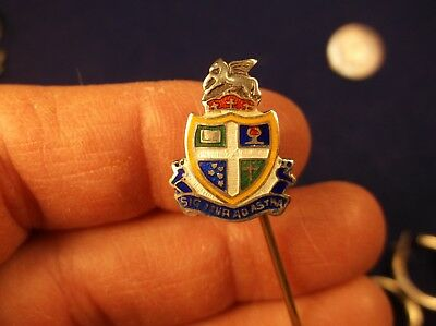 Stunning Little Vtg Antique Sterling Silver +Colorful Guilloche Enamel Stick Pin