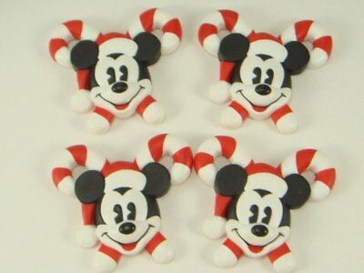 DISNEY Mickey Mouse Candy Cane Button Covers Christmas Set of 4