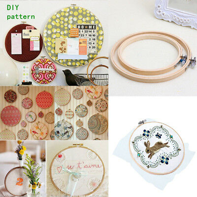 """5.1""""-11.8"""" Wooden Cross Stitch Machine Embroidery Hoop Ring Bamboo Sewing"""